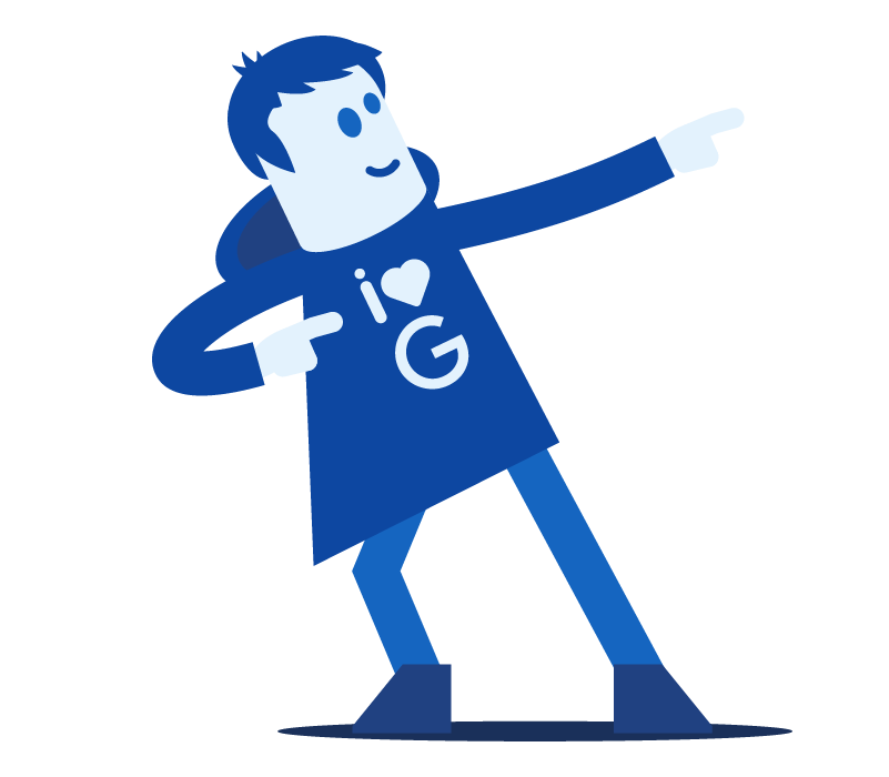 Creative design illustrated character loving Google